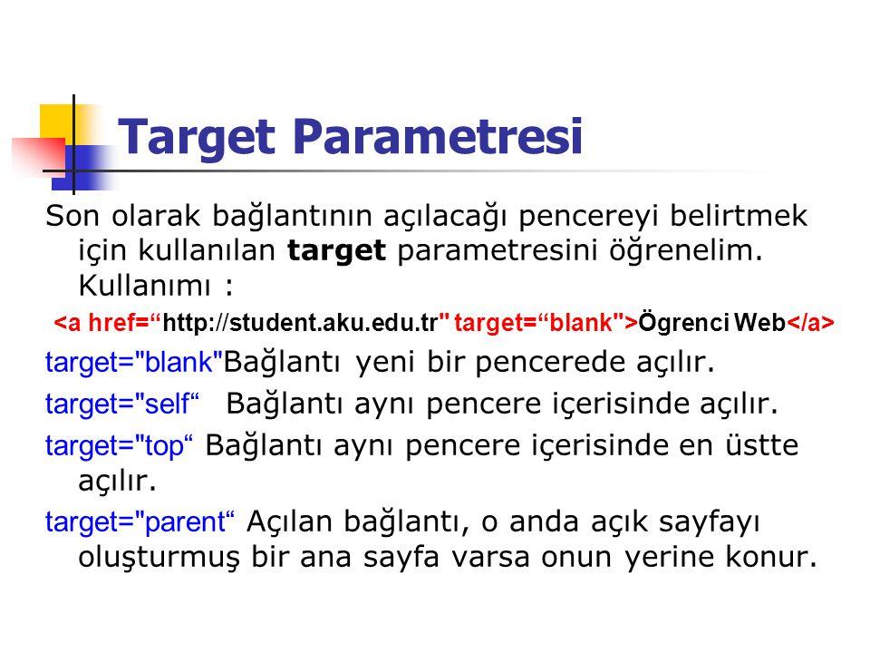 Target Parametresi Son olarak bağlantının açılacağı pencereyi belirtmek için kullanılan target parametresini öğrenelim. Kullanımı :