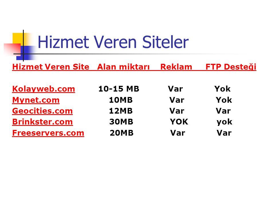 Hizmet Veren Siteler Hizmet Veren Site Alan miktarı Reklam FTP Desteği