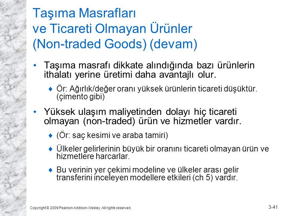 Taşıma Masrafları ve Ticareti Olmayan Ürünler (Non-traded Goods) (devam)