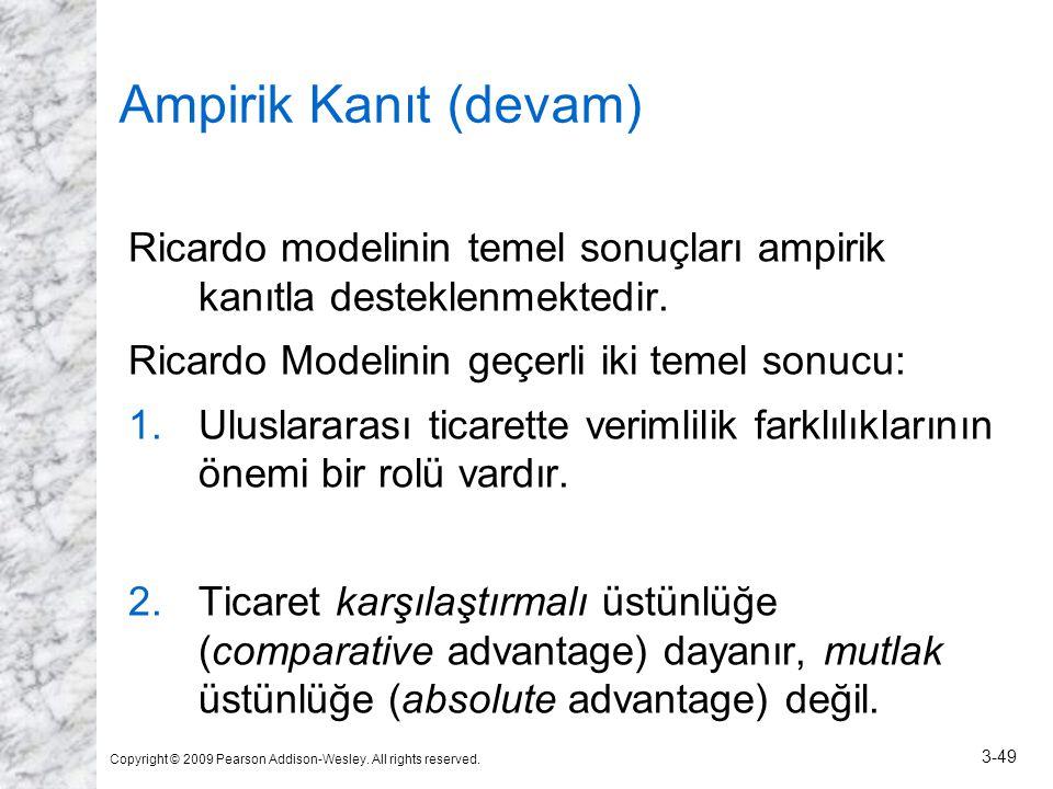 Ampirik Kanıt (devam) Ricardo modelinin temel sonuçları ampirik kanıtla desteklenmektedir. Ricardo Modelinin geçerli iki temel sonucu:
