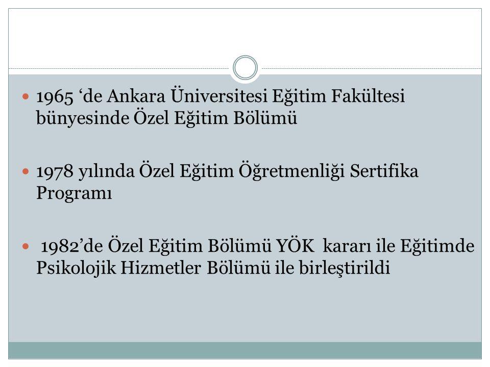 1965 'de Ankara Üniversitesi Eğitim Fakültesi bünyesinde Özel Eğitim Bölümü