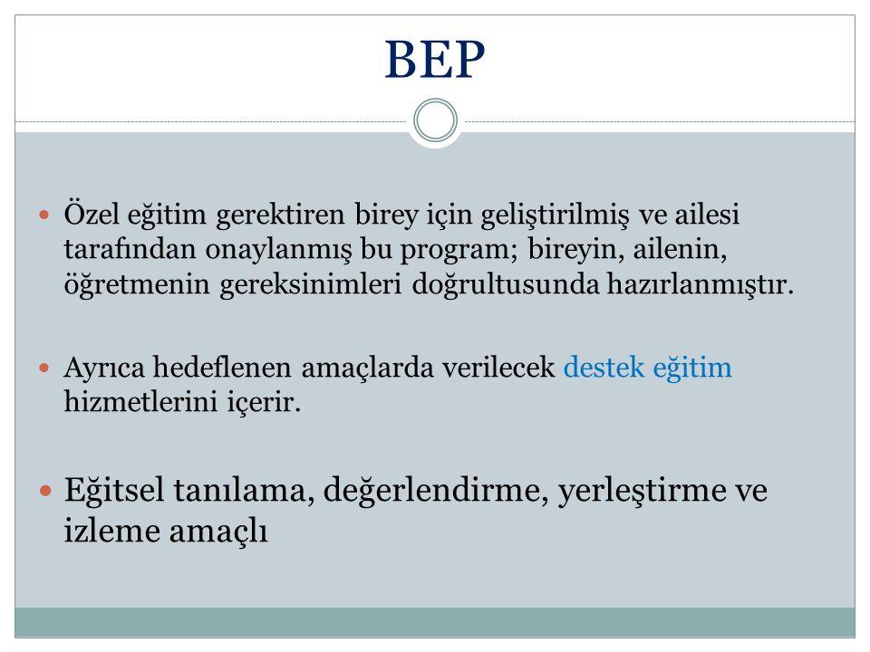 BEP Eğitsel tanılama, değerlendirme, yerleştirme ve izleme amaçlı