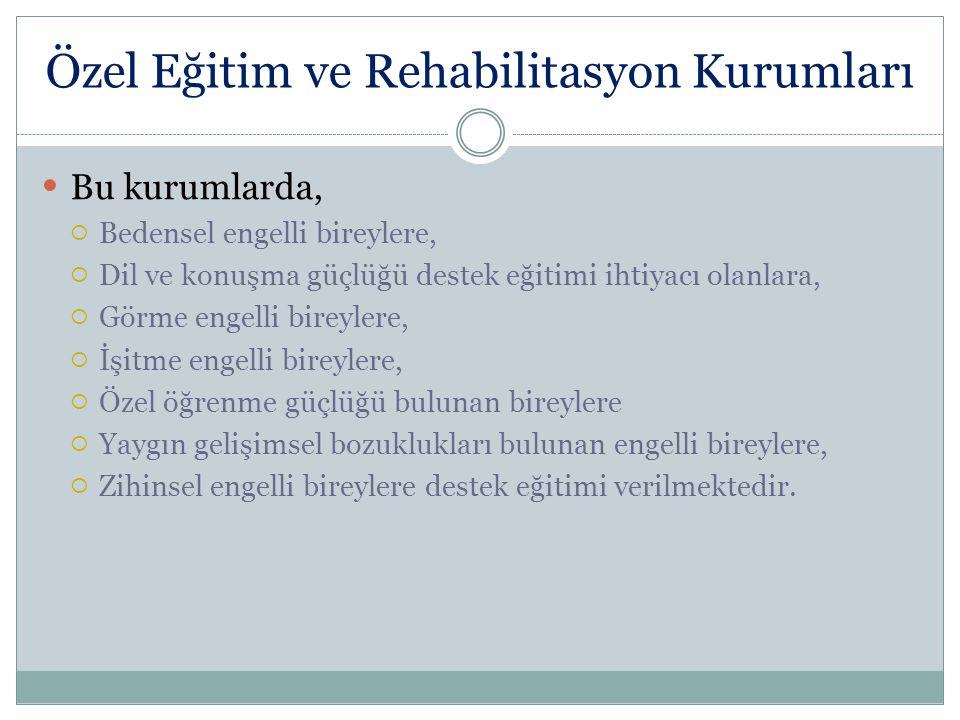Özel Eğitim ve Rehabilitasyon Kurumları