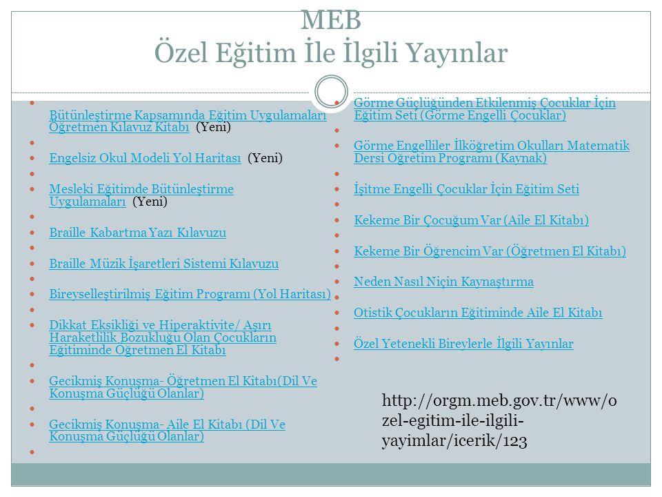 MEB Özel Eğitim İle İlgili Yayınlar