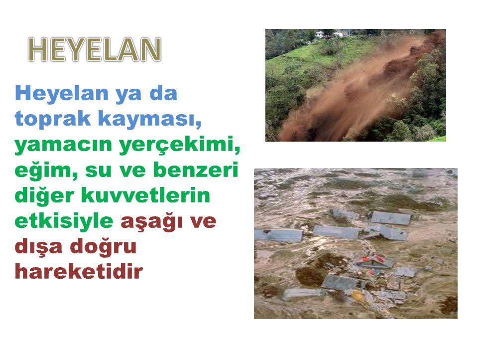 HEYELAN Heyelan ya da toprak kayması, yamacın yerçekimi, eğim, su ve benzeri diğer kuvvetlerin etkisiyle aşağı ve dışa doğru hareketidir.