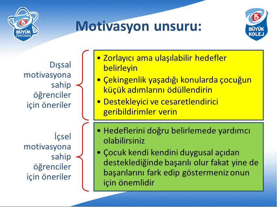 Motivasyon unsuru: Dışsal motivasyona sahip öğrenciler için öneriler