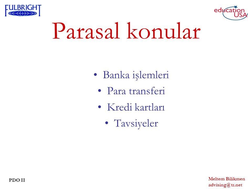 Parasal konular Banka işlemleri Para transferi Kredi kartları