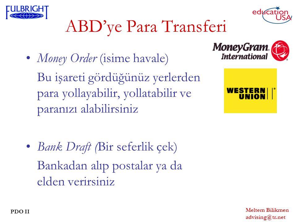 ABD'ye Para Transferi Money Order (isime havale)