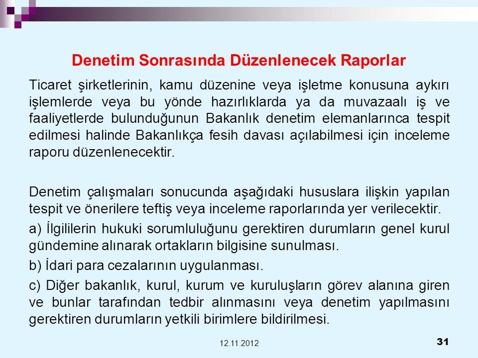 Denetim Sonrasında Düzenlenecek Raporlar