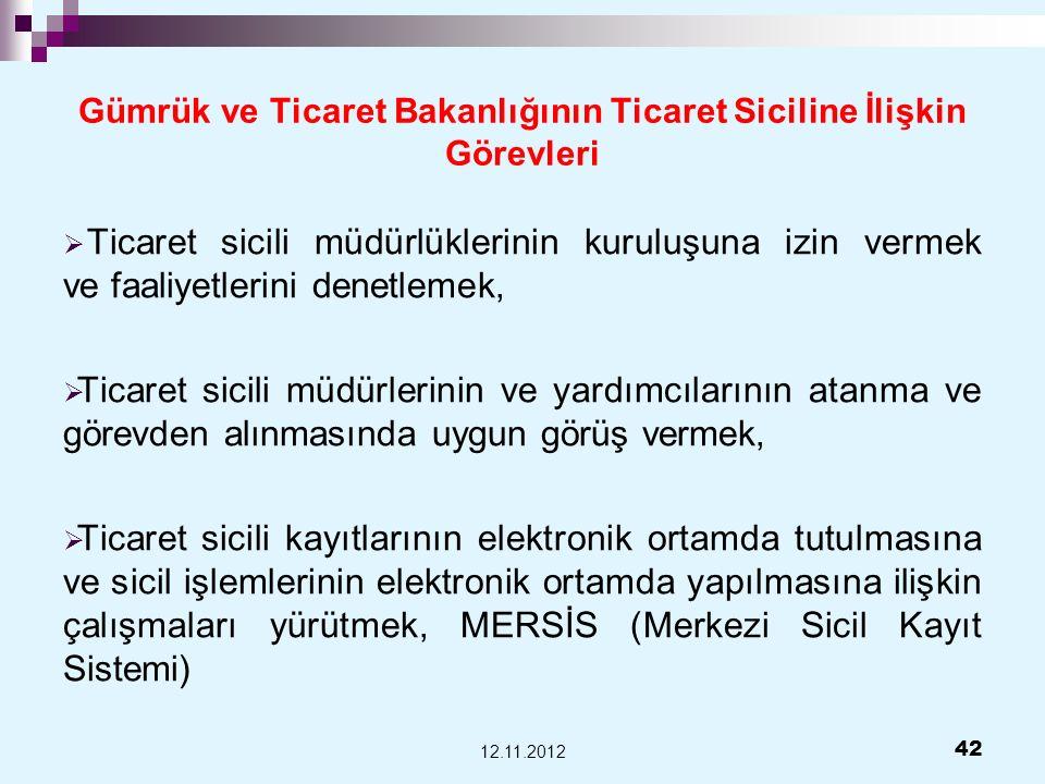 Gümrük ve Ticaret Bakanlığının Ticaret Siciline İlişkin Görevleri