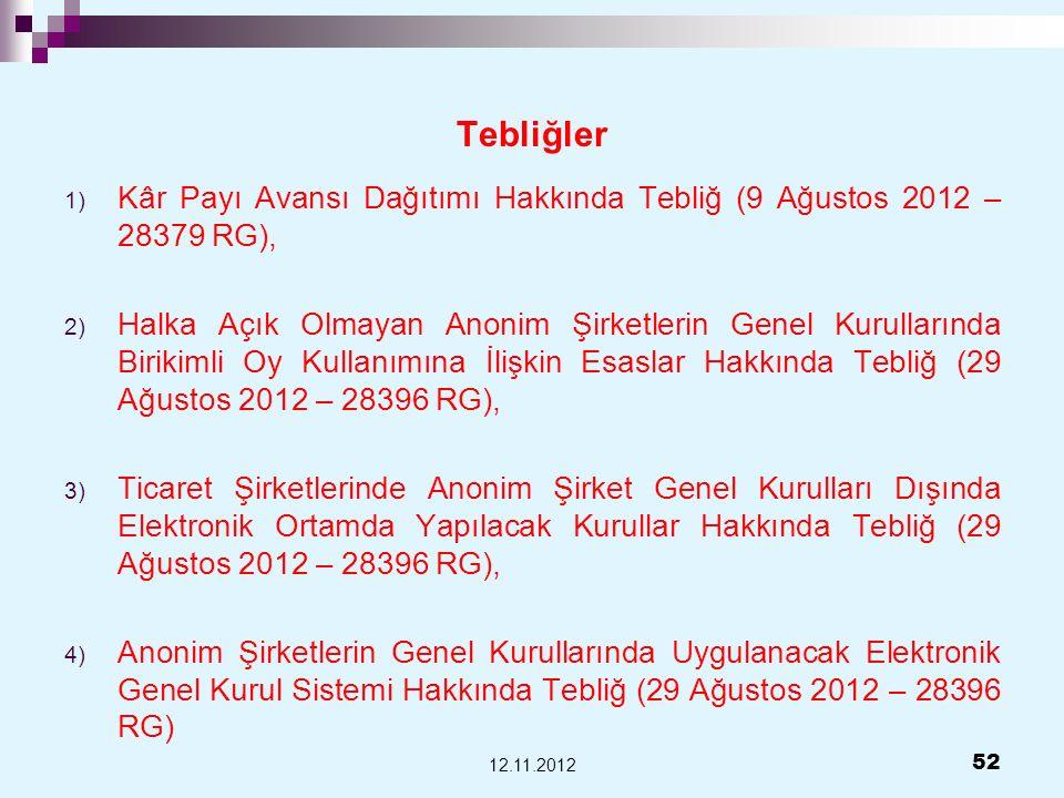 TebliğlerKâr Payı Avansı Dağıtımı Hakkında Tebliğ (9 Ağustos 2012 – 28379 RG),