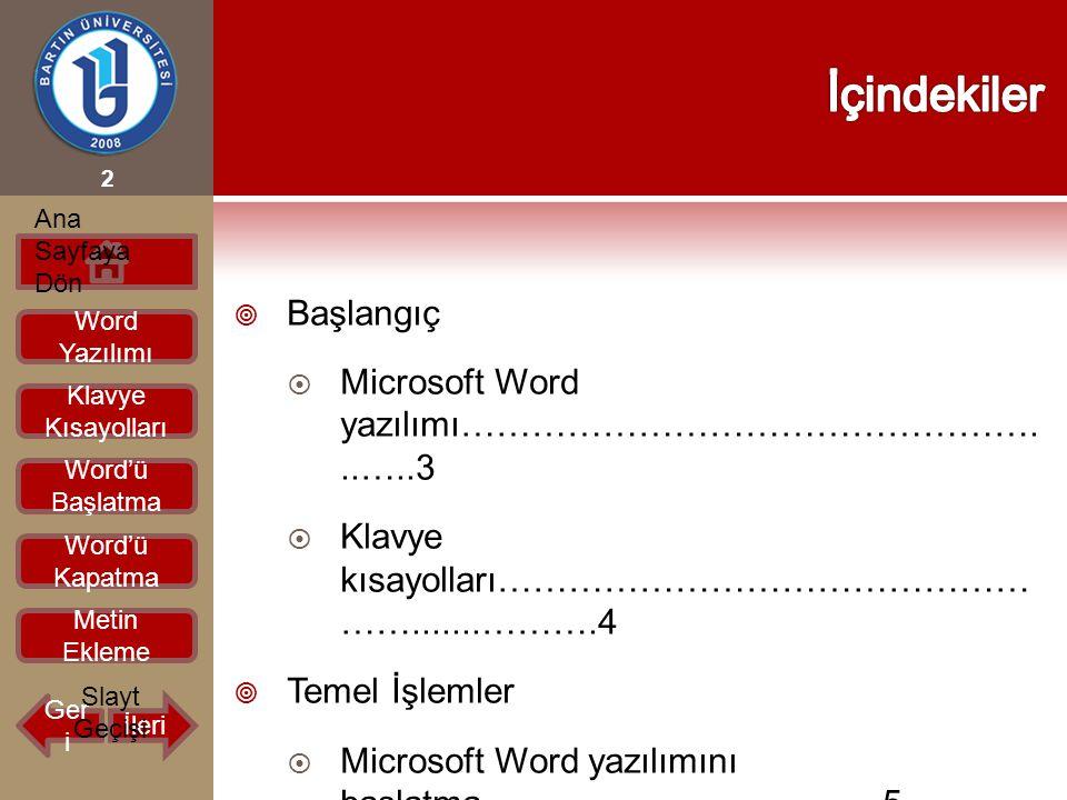 İçindekiler Başlangıç Microsoft Word yazılımı…………………………………………...…..3