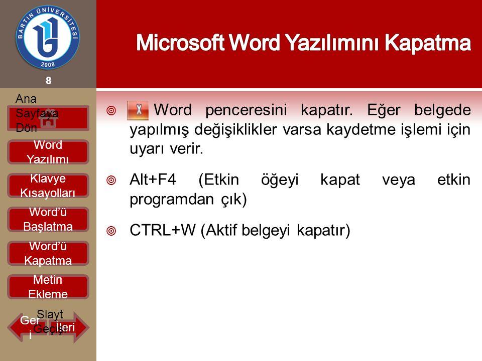 Microsoft Word Yazılımını Kapatma