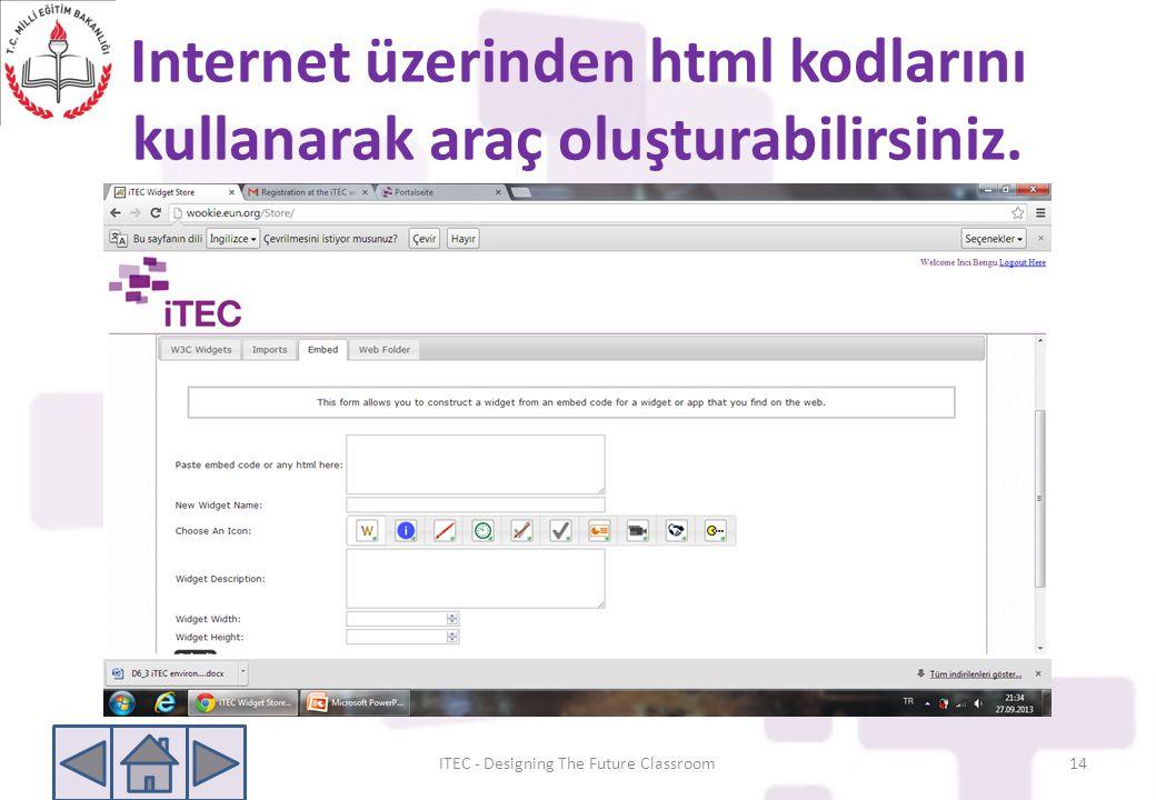 Internet üzerinden html kodlarını kullanarak araç oluşturabilirsiniz.