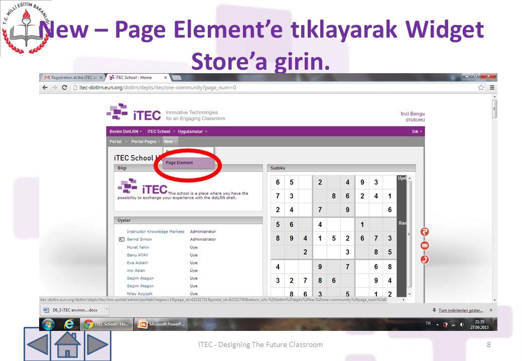 New – Page Element'e tıklayarak Widget Store'a girin.