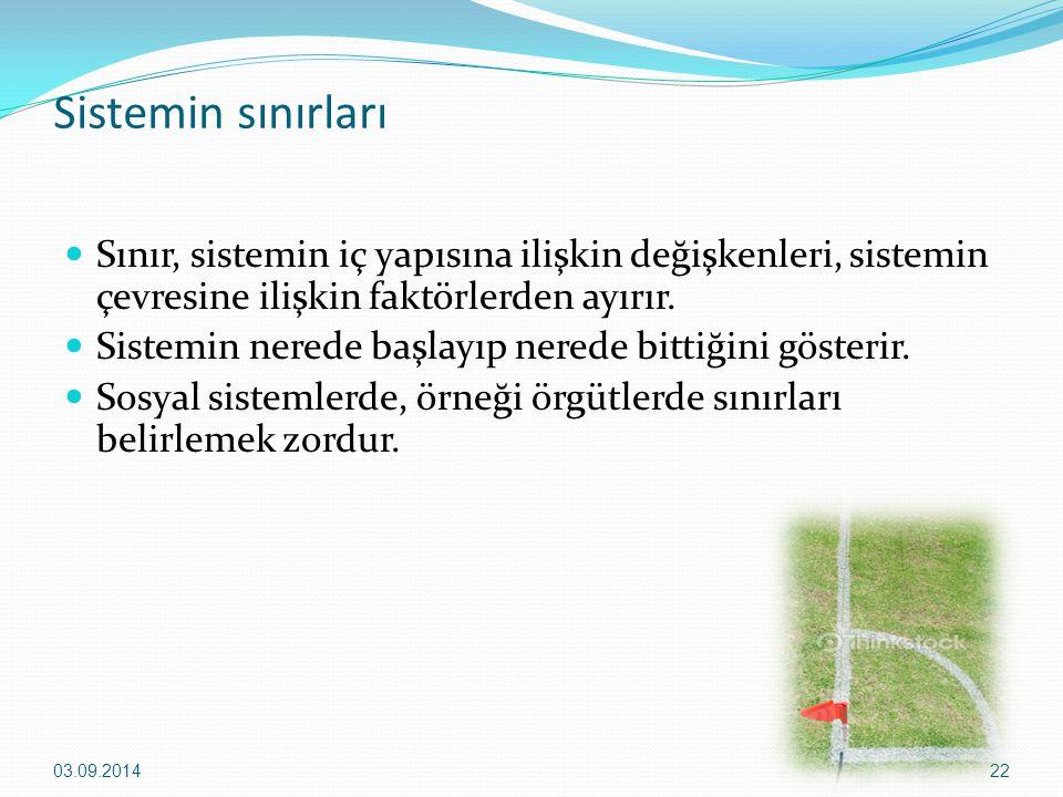 Sistemin sınırları Sınır, sistemin iç yapısına ilişkin değişkenleri, sistemin çevresine ilişkin faktörlerden ayırır.