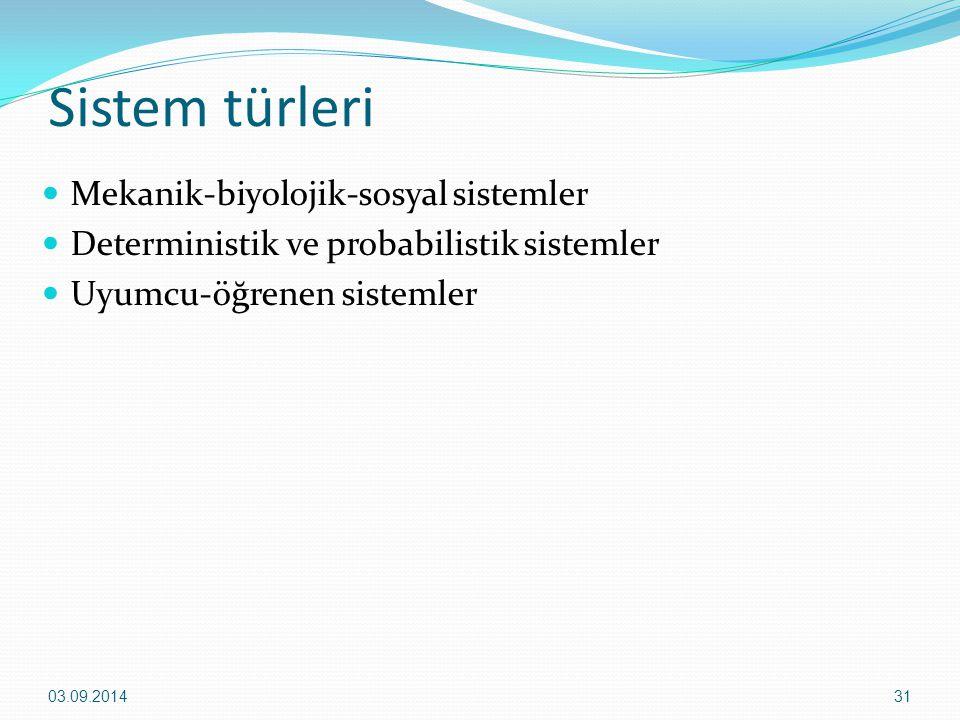 Sistem türleri Mekanik-biyolojik-sosyal sistemler