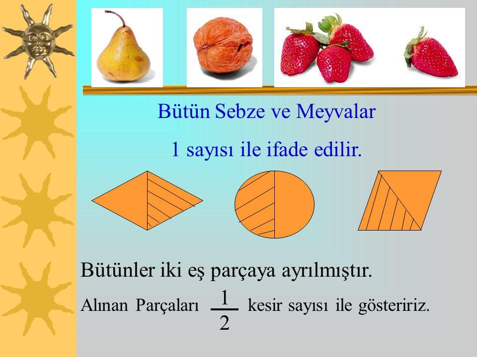 Bütün Sebze ve Meyvalar 1 sayısı ile ifade edilir.