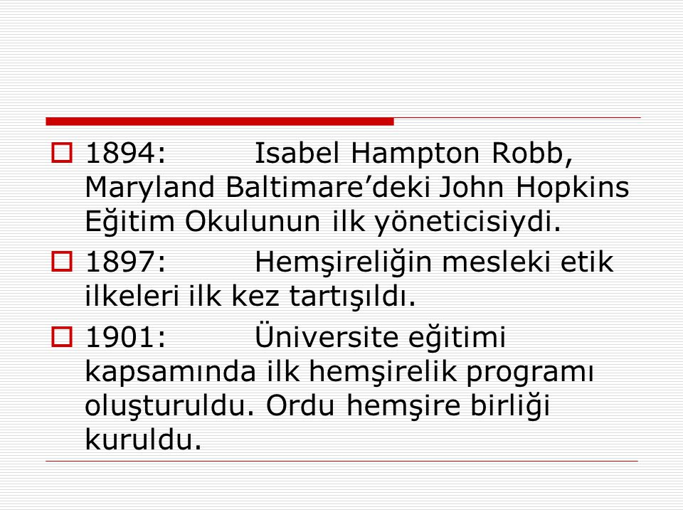 1894: Isabel Hampton Robb, Maryland Baltimare'deki John Hopkins Eğitim Okulunun ilk yöneticisiydi.
