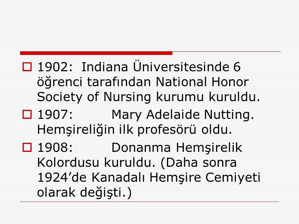 1902: Indiana Üniversitesinde 6 öğrenci tarafından National Honor Society of Nursing kurumu kuruldu.