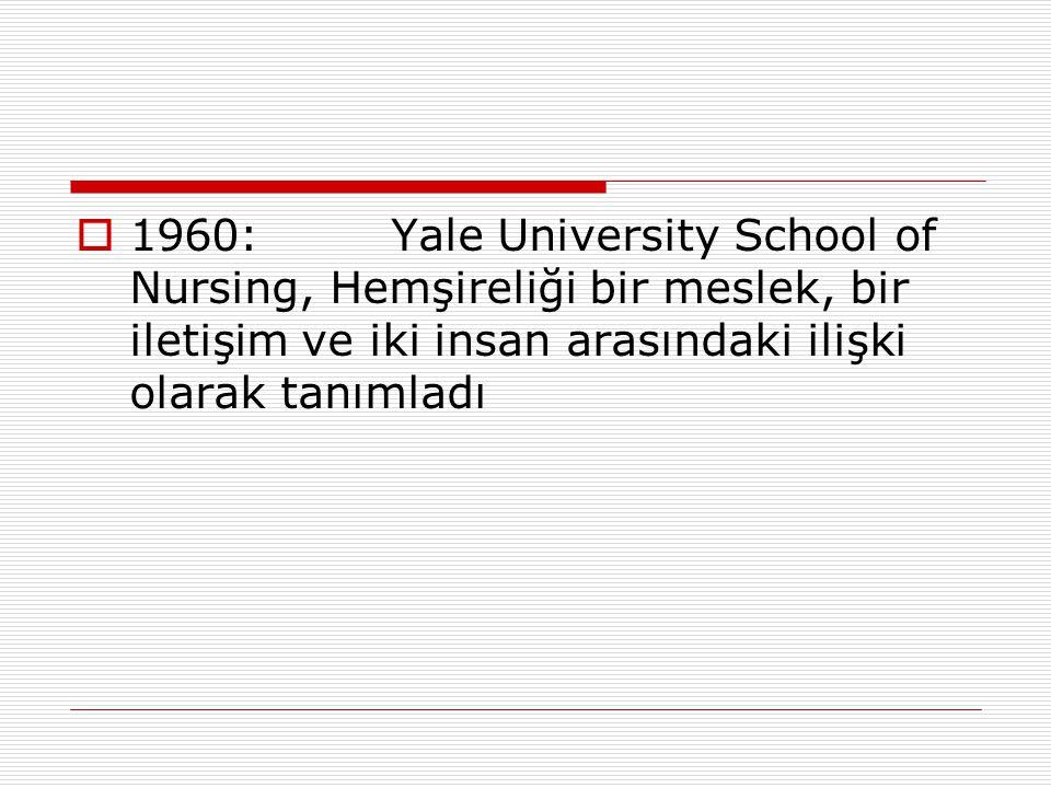1960: Yale University School of Nursing, Hemşireliği bir meslek, bir iletişim ve iki insan arasındaki ilişki olarak tanımladı