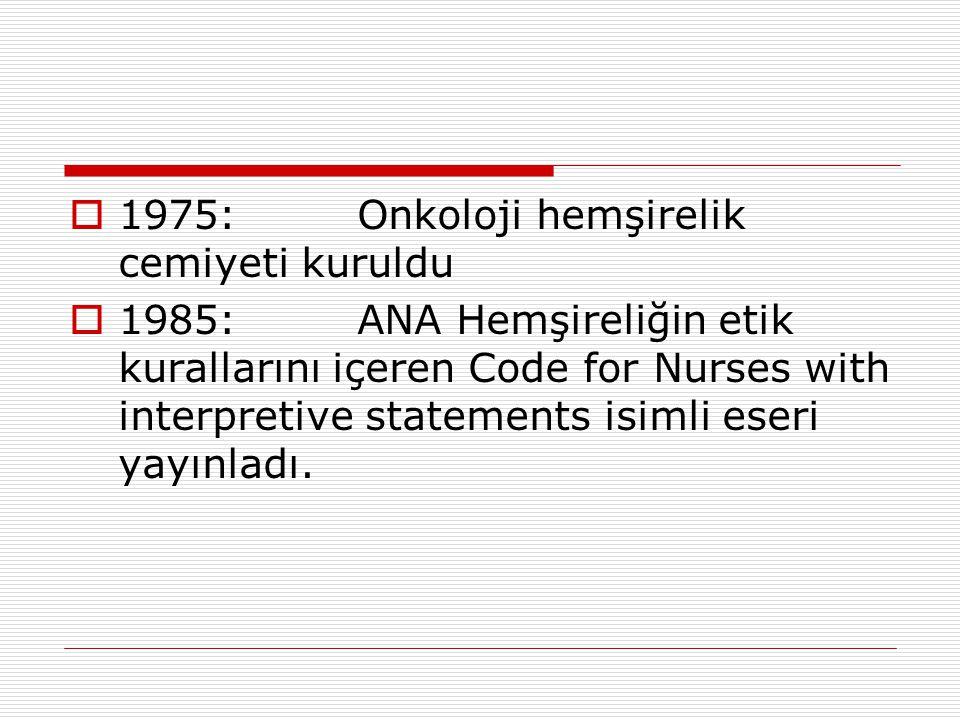 1975: Onkoloji hemşirelik cemiyeti kuruldu