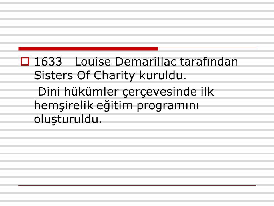 1633 Louise Demarillac tarafından Sisters Of Charity kuruldu.