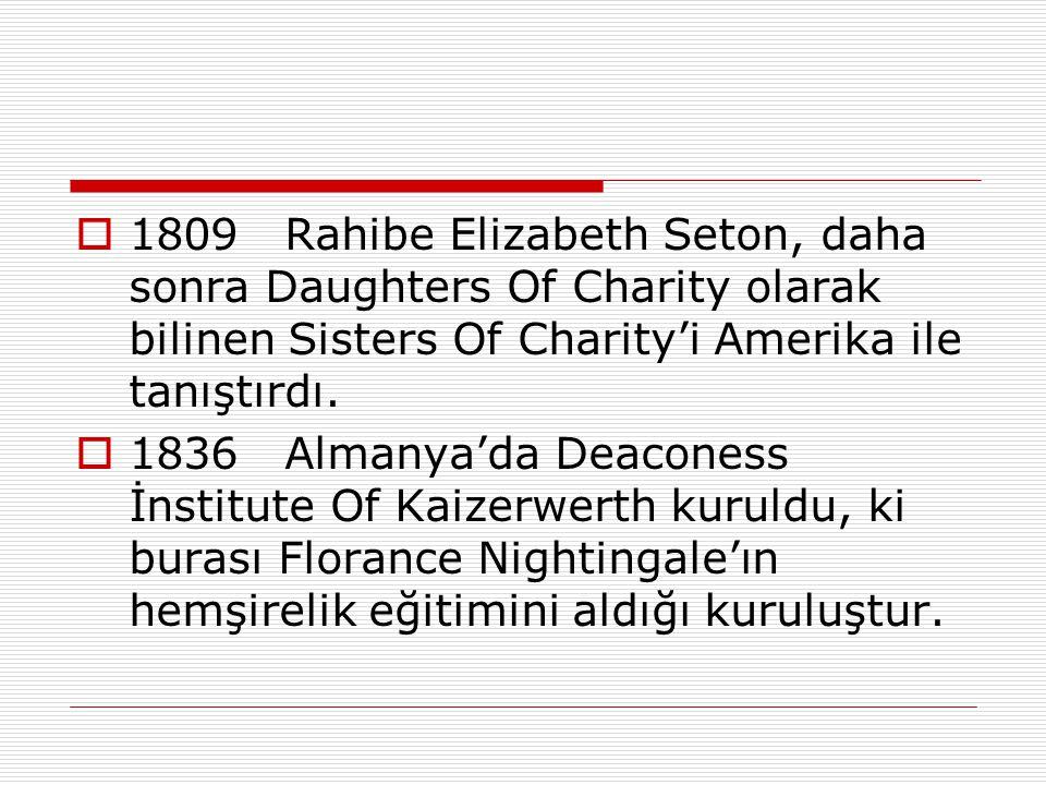 1809 Rahibe Elizabeth Seton, daha sonra Daughters Of Charity olarak bilinen Sisters Of Charity'i Amerika ile tanıştırdı.