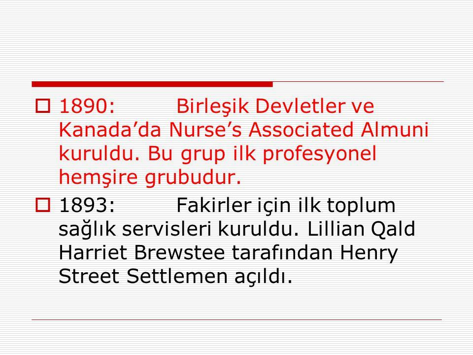 1890: Birleşik Devletler ve Kanada'da Nurse's Associated Almuni kuruldu. Bu grup ilk profesyonel hemşire grubudur.