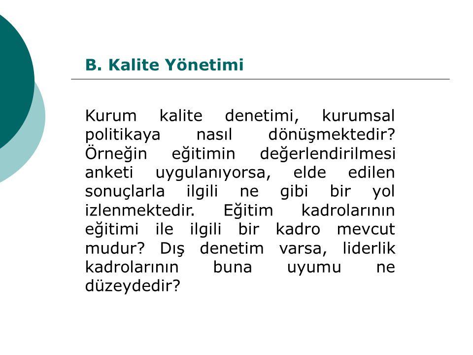 B. Kalite Yönetimi