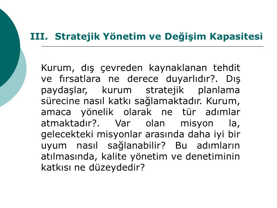 III. Stratejik Yönetim ve Değişim Kapasitesi