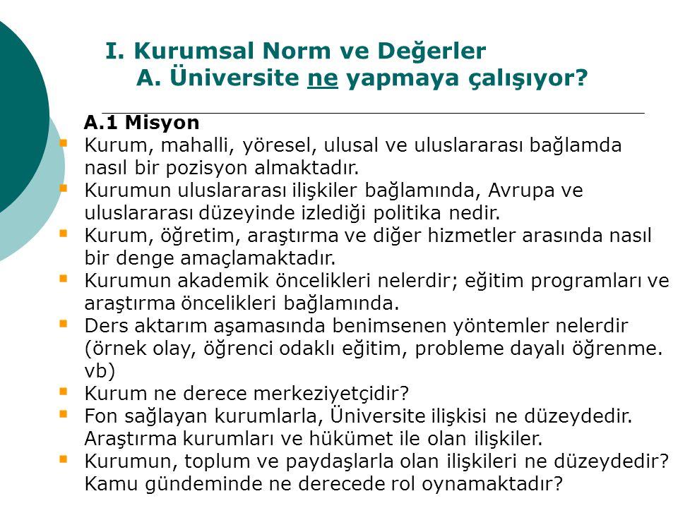 I. Kurumsal Norm ve Değerler A. Üniversite ne yapmaya çalışıyor