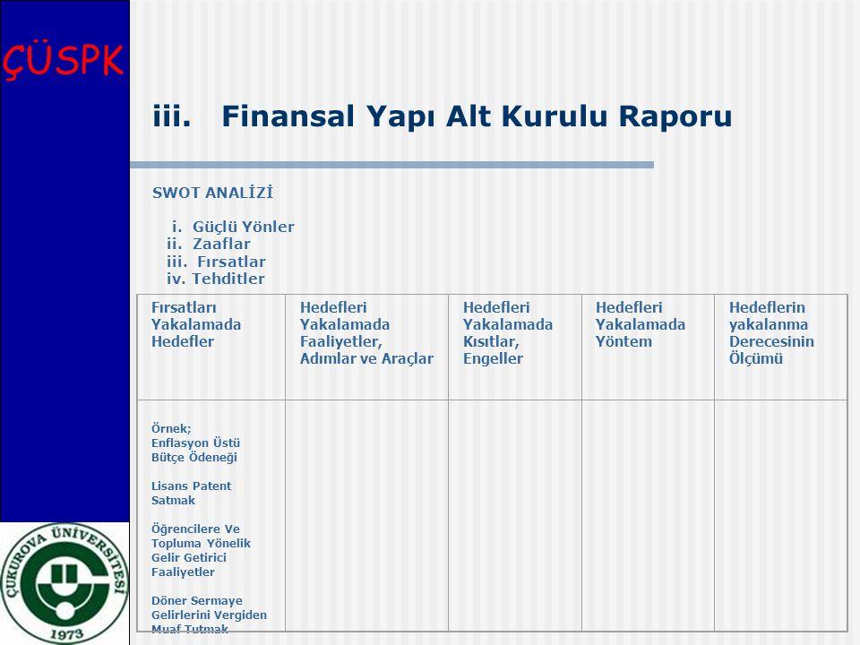 ÇÜSPK iii. Finansal Yapı Alt Kurulu Raporu SWOT ANALİZİ