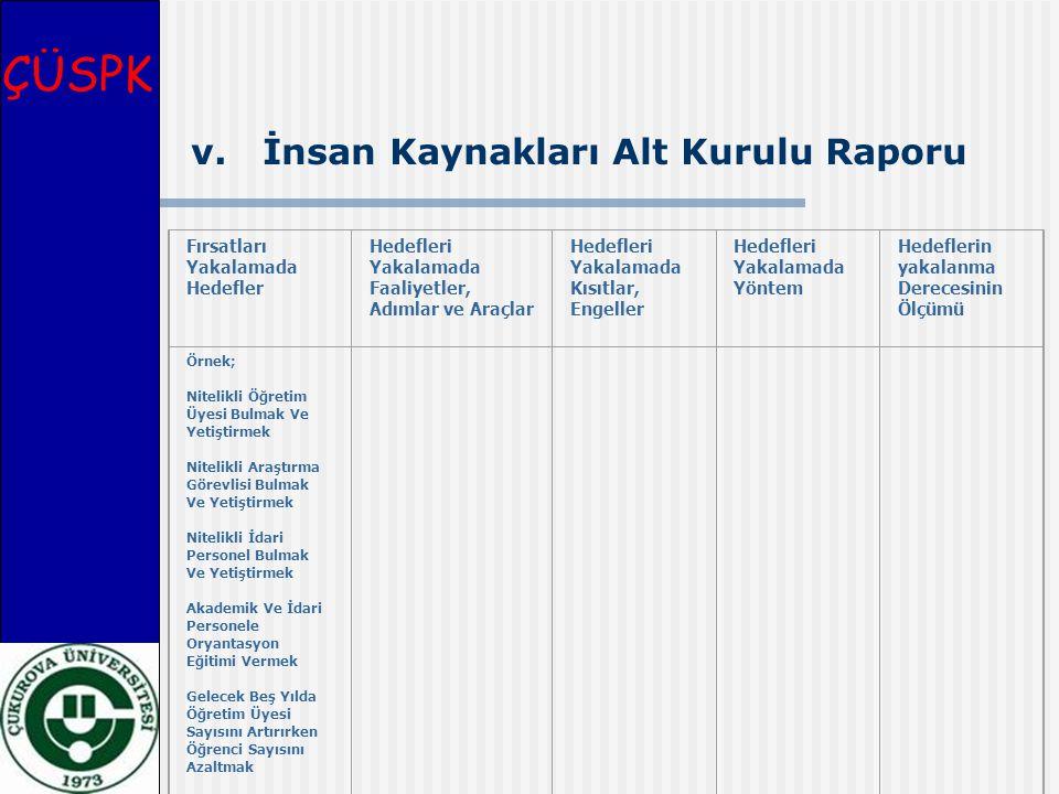 ÇÜSPK v. İnsan Kaynakları Alt Kurulu Raporu Fırsatları Yakalamada