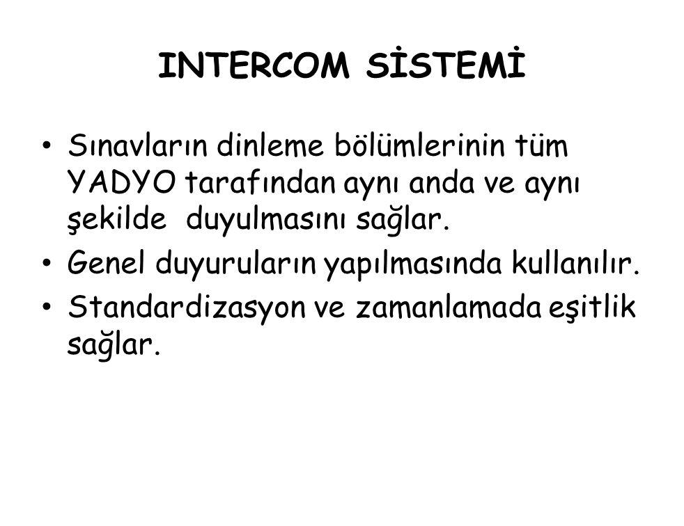 INTERCOM SİSTEMİ Sınavların dinleme bölümlerinin tüm YADYO tarafından aynı anda ve aynı şekilde duyulmasını sağlar.
