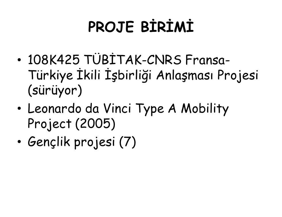 PROJE BİRİMİ 108K425 TÜBİTAK-CNRS Fransa-Türkiye İkili İşbirliği Anlaşması Projesi (sürüyor) Leonardo da Vinci Type A Mobility Project (2005)