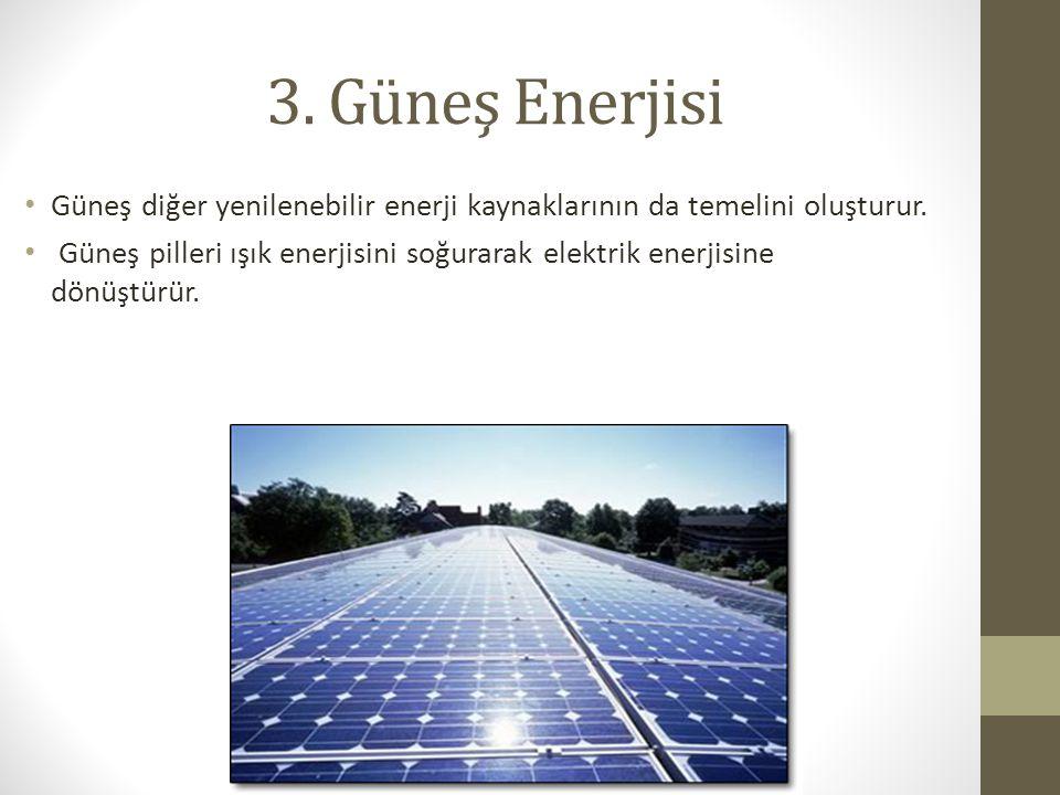 3. Güneş Enerjisi Güneş diğer yenilenebilir enerji kaynaklarının da temelini oluşturur.