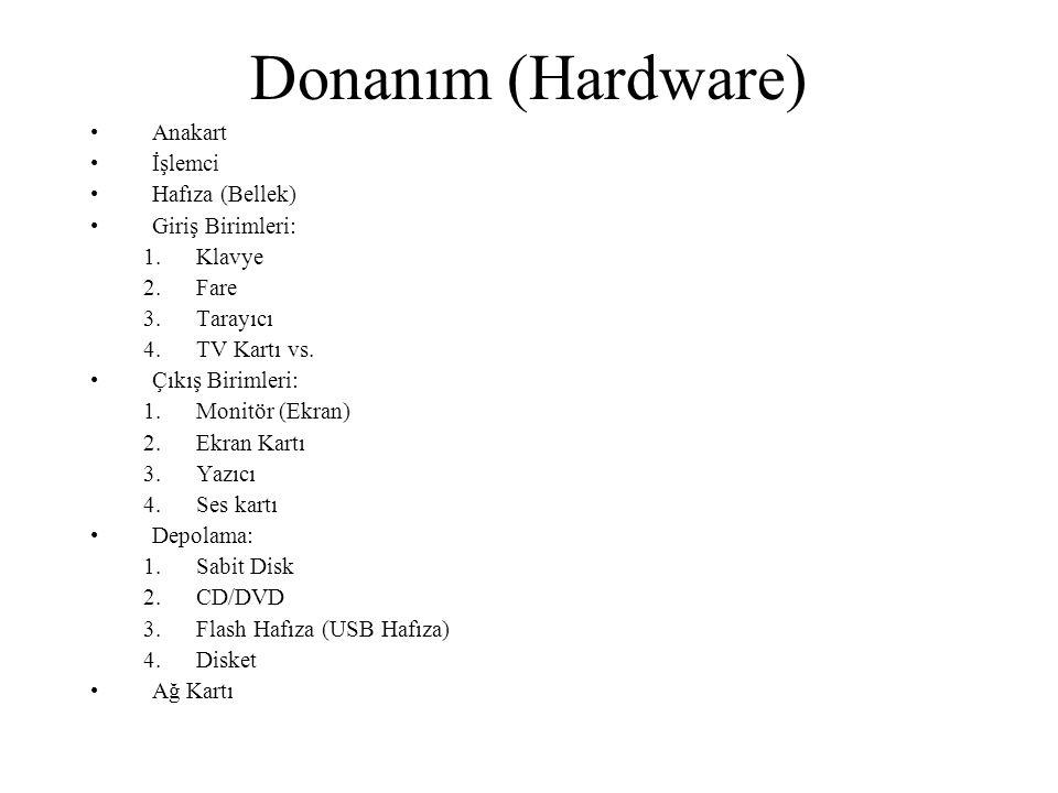 Donanım (Hardware) Anakart İşlemci Hafıza (Bellek) Giriş Birimleri: