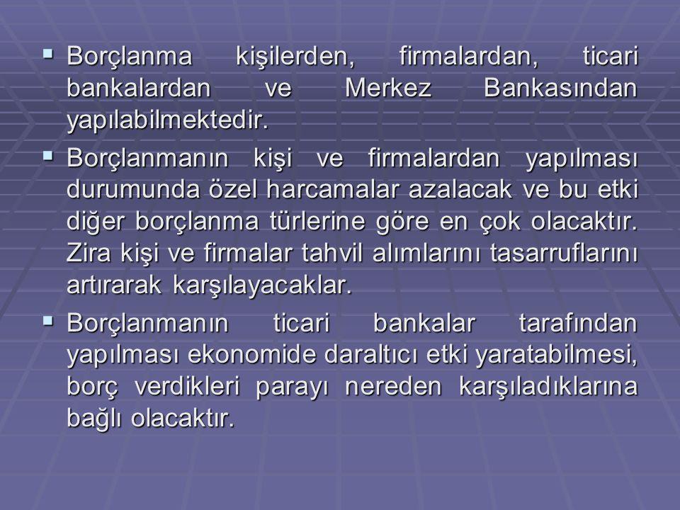 Borçlanma kişilerden, firmalardan, ticari bankalardan ve Merkez Bankasından yapılabilmektedir.