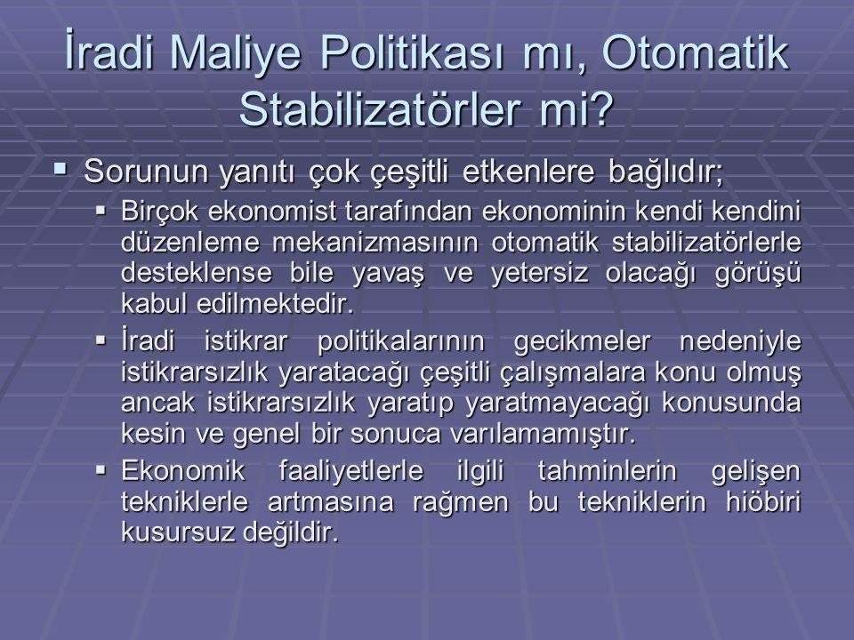 İradi Maliye Politikası mı, Otomatik Stabilizatörler mi