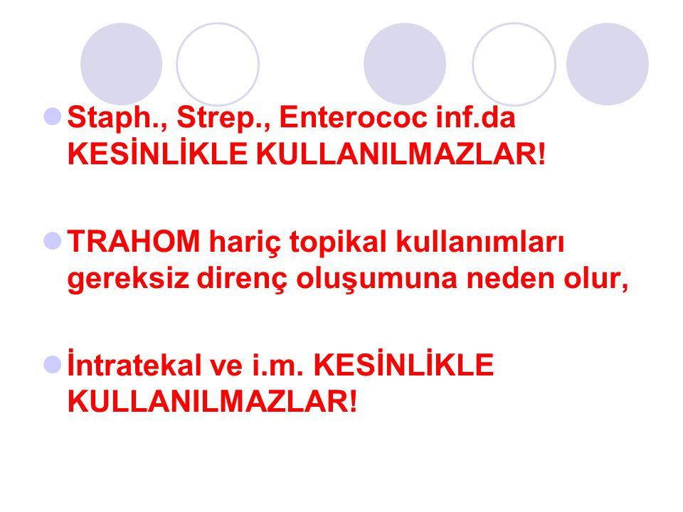 Staph., Strep., Enterococ inf.da KESİNLİKLE KULLANILMAZLAR!