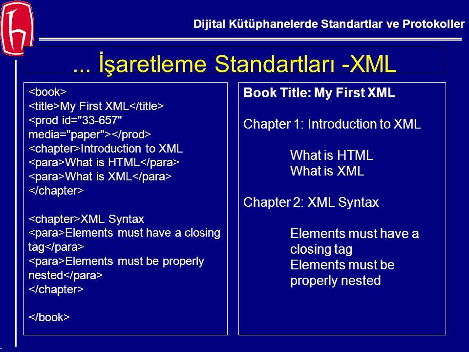... İşaretleme Standartları -XML