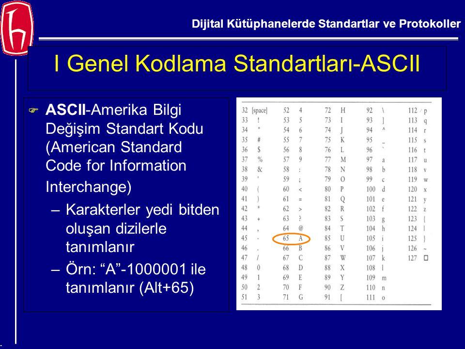 I Genel Kodlama Standartları-ASCII