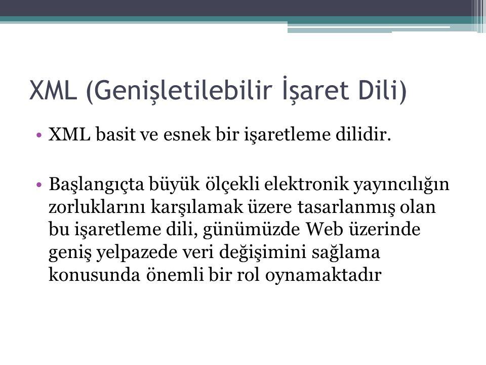XML (Genişletilebilir İşaret Dili)