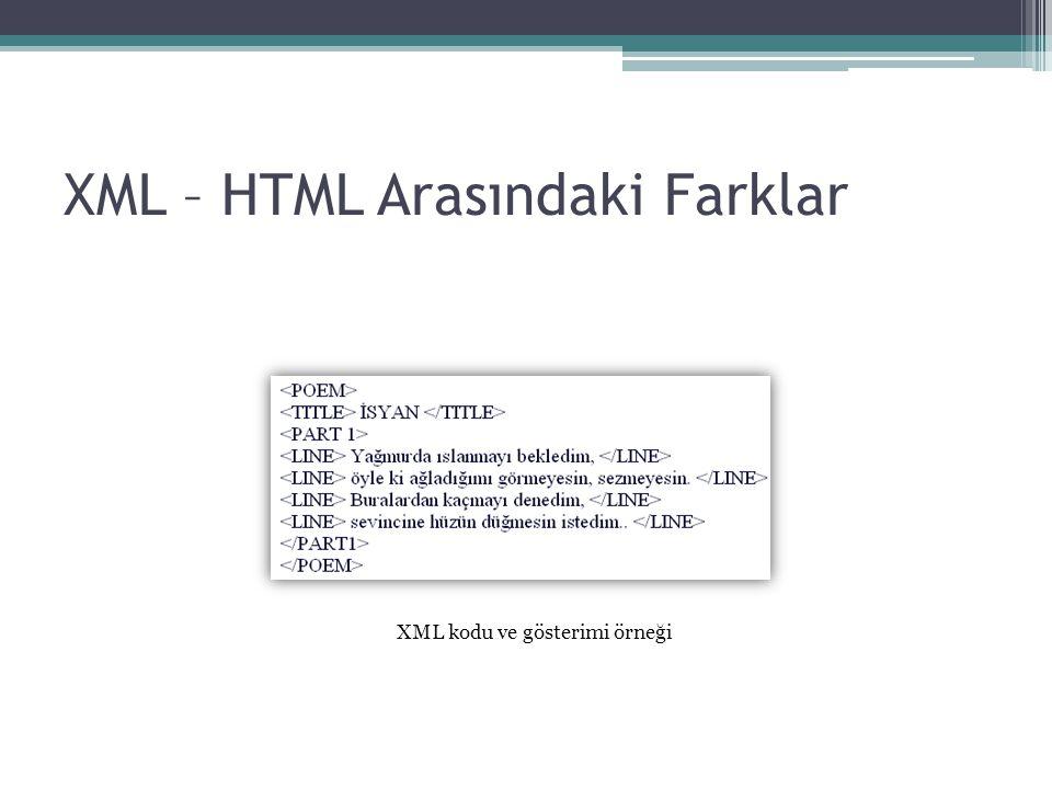 XML – HTML Arasındaki Farklar