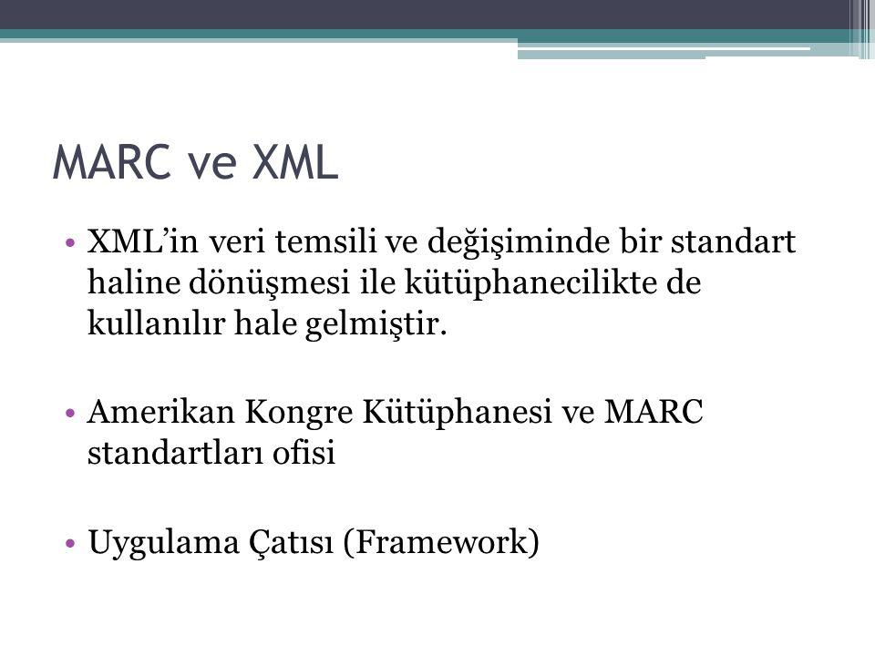 MARC ve XML XML'in veri temsili ve değişiminde bir standart haline dönüşmesi ile kütüphanecilikte de kullanılır hale gelmiştir.