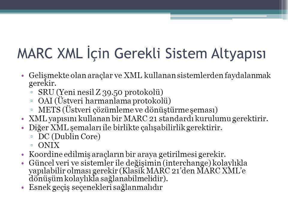 MARC XML İçin Gerekli Sistem Altyapısı