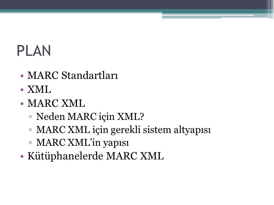 PLAN MARC Standartları XML MARC XML Kütüphanelerde MARC XML