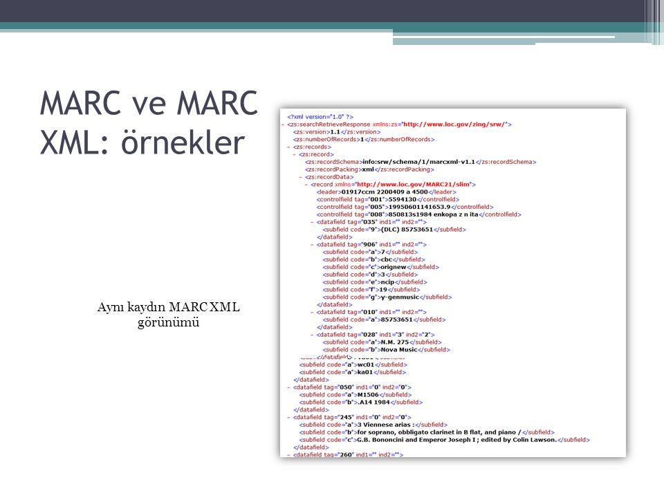 MARC ve MARC XML: örnekler