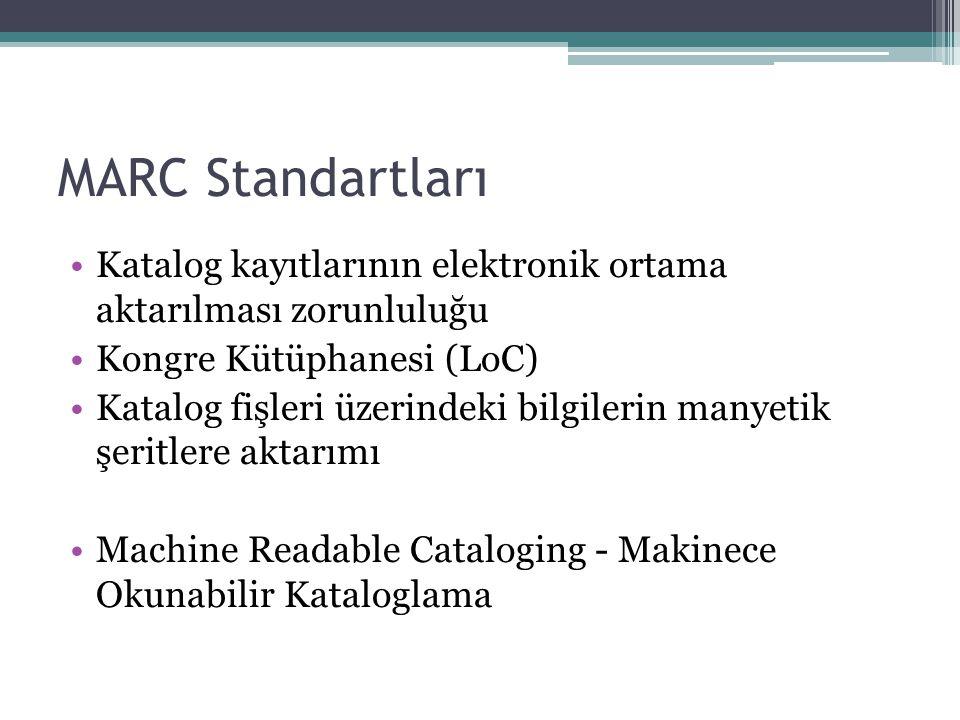 MARC Standartları Katalog kayıtlarının elektronik ortama aktarılması zorunluluğu. Kongre Kütüphanesi (LoC)